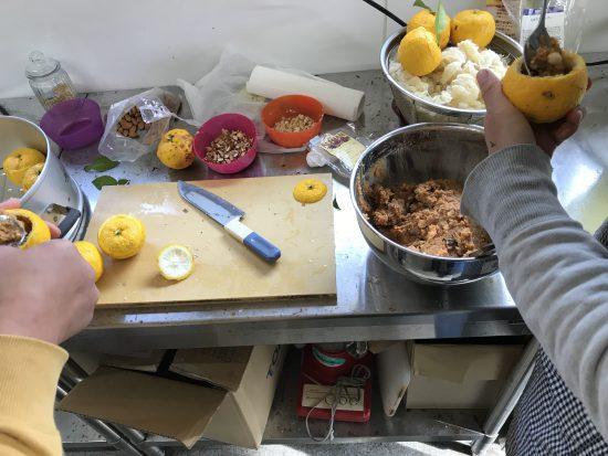 味噌、柚子果汁、砂糖、クルミ、レーズン、カシューナッツ