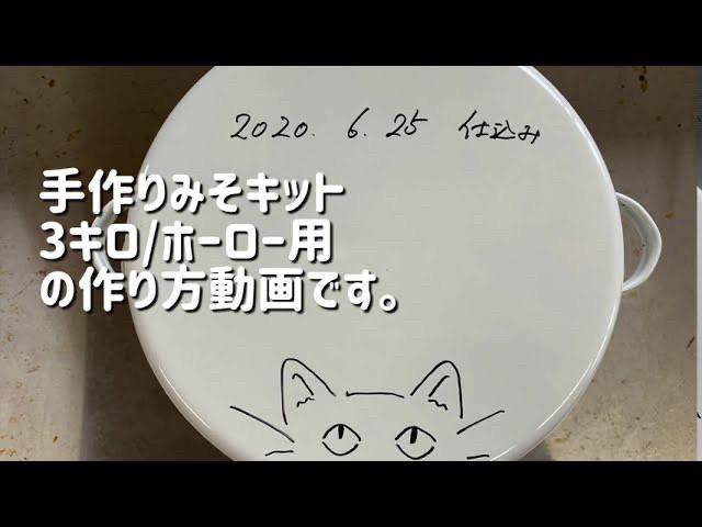 手作り味噌キット 仕上がり3キロの仕込み方動画(琺瑯容器つき)